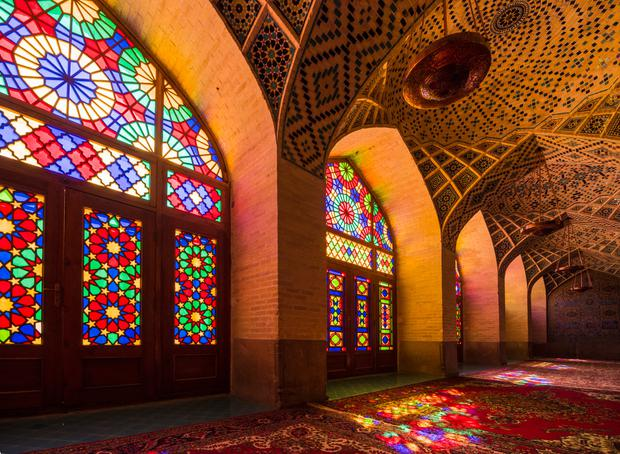 Interior windows of Nasir al-Mulk, a traditional mosque in Shiraz, Iran. Photo: Getty