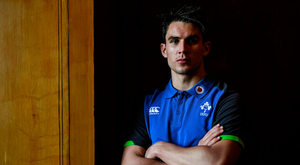 7 November 2017; Joey Carbery poses for a portrait after an Ireland rugby press conference at Carton House in Maynooth, Kildare. Photo by Brendan Moran/Sportsfile