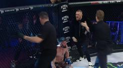 Conor McGregor argues with referee Marc Goddard after Charlie Ward's first round knockout of John Redmond at Bellator 187. Credit: Bellator MMA Twitter.
