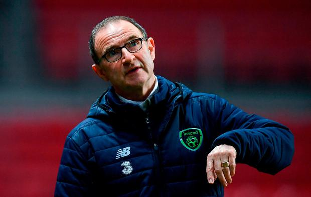 Republic of Ireland manager Martin O'Neill during squad training at Parken Stadium in Copenhagen, Denmark. Photo by Stephen McCarthy/Sportsfile