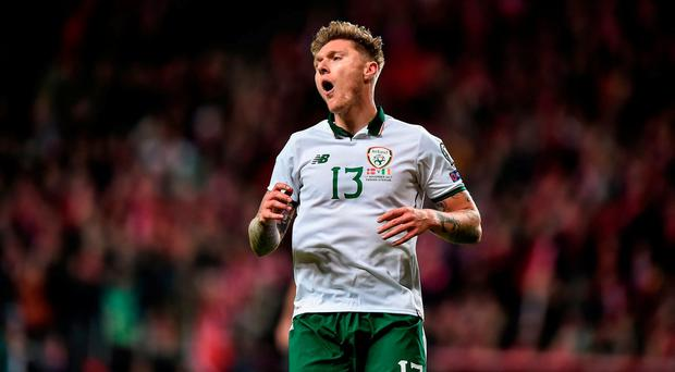 Jeff Hendrick of Republic of Ireland reacts to missing an opportunity to score during the FIFA 2018 World Cup Qualifier Play-off 1st Leg match between Denmark and Republic of Ireland at Parken Stadium in Copenhagen, Denmark. Photo by Seb Daly/Sportsfile