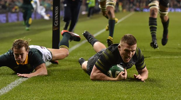 Andrew Conway of Ireland scores his side's first try during the Guinness Series International match between Ireland and South Africa at the Aviva Stadium in Dublin. (Photo By Matt Browne/Sportsfile via Getty Images)
