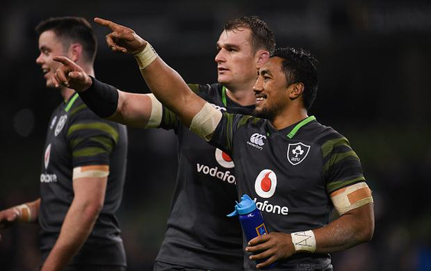 Bundee Aki, right, and Rhys Ruddock of Ireland after the Guinness Series International match between Ireland and South Africa at the Aviva Stadium in Dublin. (Photo By Eóin Noonan/Sportsfile via Getty Images)