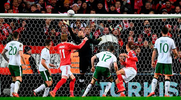 Darren Randolph of Republic of Ireland saves a header from Yussuf Poulsen of Denmark during the FIFA 2018 World Cup Qualifier Play-off 1st Leg match between Denmark and Republic of Ireland at Parken Stadium in Copenhagen, Denmark. Photo by Stephen McCarthy/Sportsfile