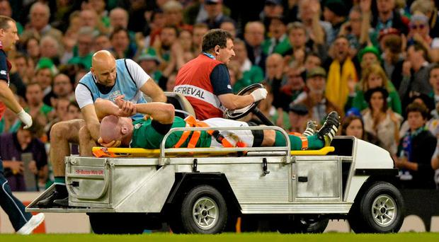 Paul O'Connell's career-ender in the 2015 World Cup was the highest profile hamstring rupture. Photo: Matt Browne / Sportsfile