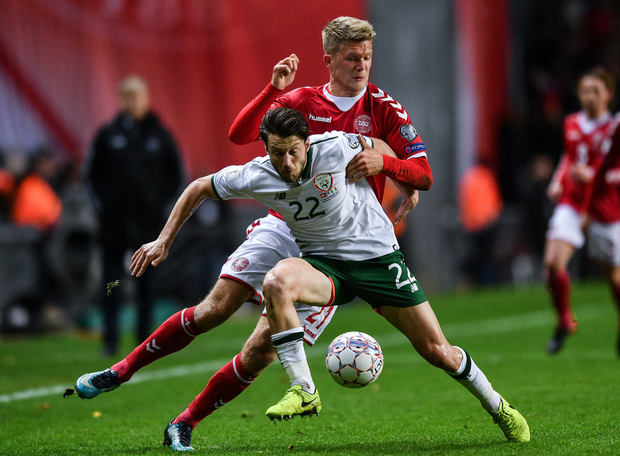 Harry Arter of Republic of Ireland in action against Andreas Cornelius of Denmark during the FIFA 2018 World Cup Qualifier Play-off 1st Leg match between Denmark and Republic of Ireland at Parken Stadium in Copenhagen, Denmark. Photo by Ramsey Cardy/Sportsfile