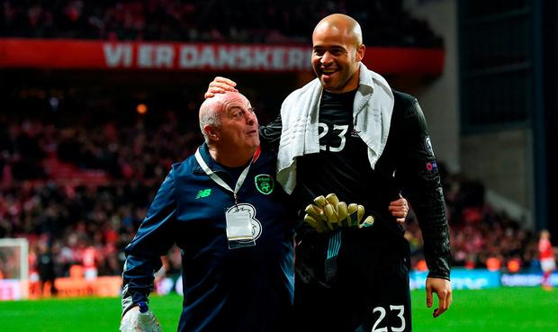 Darren Randolph of Republic of Ireland and equipment officer Dick Redmond following the FIFA 2018 World Cup Qualifier Play-off 1st Leg match between Denmark and Republic of Ireland at Parken Stadium in Copenhagen, Denmark. Photo by Stephen McCarthy/Sportsfile