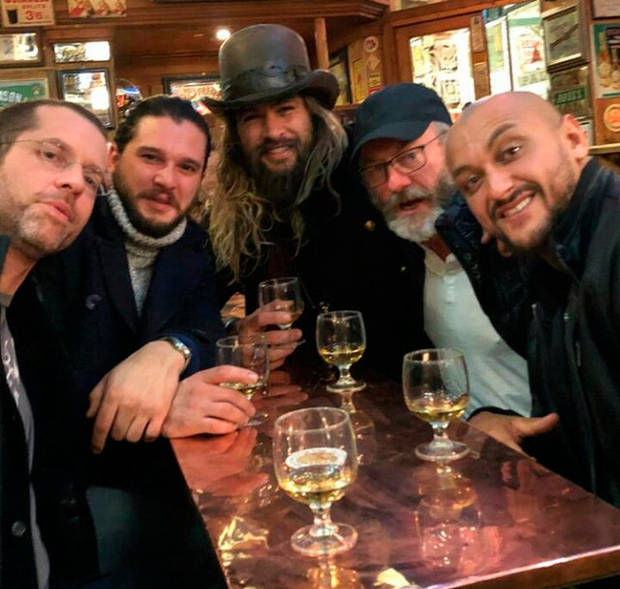GAME NEARLY OVER: Kit Harington, Jason Momoa and Liam Cunningham take a break from filming season eight and meet fans in a pub in Belfast, where parts of the series are shot