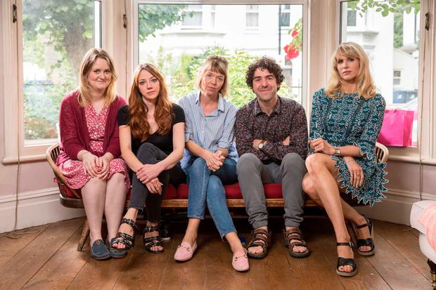 WHERE IS THE LOVE? From left, Philippa Dunne, Diane Morgan, Anna Maxwell Martin, Paul Ready and Lucy Punch in 'Motherland'