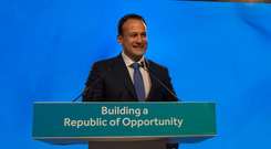 ASPIRATIONAL: Taoiseach Leo Varadkar delivers his first conference speech as party leader at Fine Gael's National Conference. Photo: Fergal Phillips