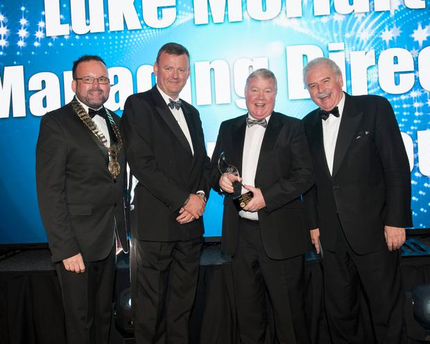 AWARDS TIME: From left, Fingal Chamber president Guy Thompson, Dublin Airport general manager of operations Brian Drain, Moriarty Group managing director Luke Moriarty and MC for the evening Marty Whelan. Photo: Fintan Clarke