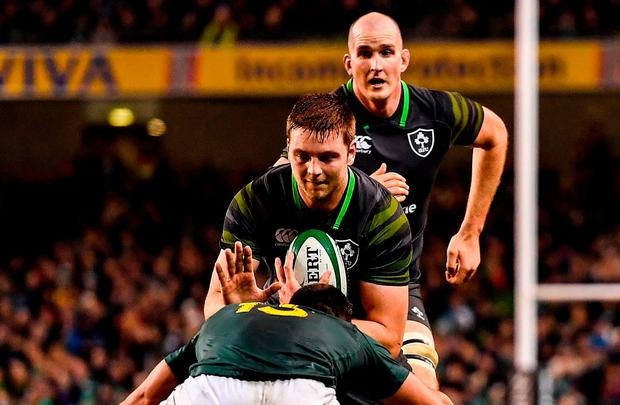 Iain Henderson of Ireland is tackled by Damian de Allende of South Africa during the Guinness Series International match between Ireland and South Africa at the Aviva Stadium in Dublin. Photo by Brendan Moran/Sportsfile