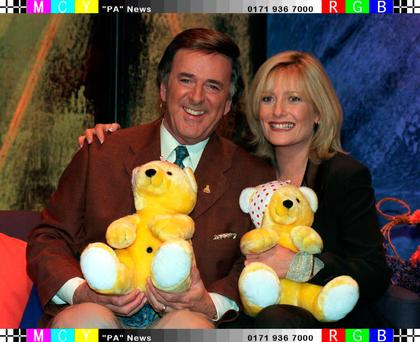 Terry Wogan Gaby Roslin on the Children in Need Telethon