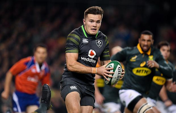 Dublin , Ireland - 11 November 2017; Jacob Stockdale of Ireland during the Guinness Series International match between Ireland and South Africa at the Aviva Stadium in Dublin. (Photo By Brendan Moran/Sportsfile via Getty Images)