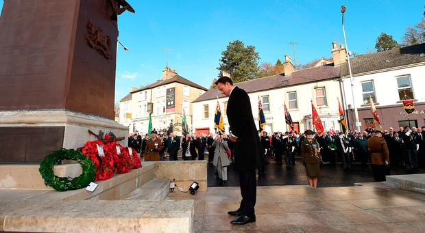 Taoiseach Leo Varadkar lays a wreath at the war memorial during events to remember the 12 victims of the IRA's 1987 Remembrance Sunday bomb attack in Enniskillen: Phil Fitzpatrick/PA Wire