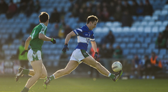 12 November 2017; David Holland of Portlaoise in action against Mark Dempsey of Moorefield during the AIB Leinster GAA Football Senior Club Championship Quarter-Final match between Portlaoise and Moorefield at O'Moore Park in Portlaoise, Laois. Photo by Daire Brennan/Sportsfile