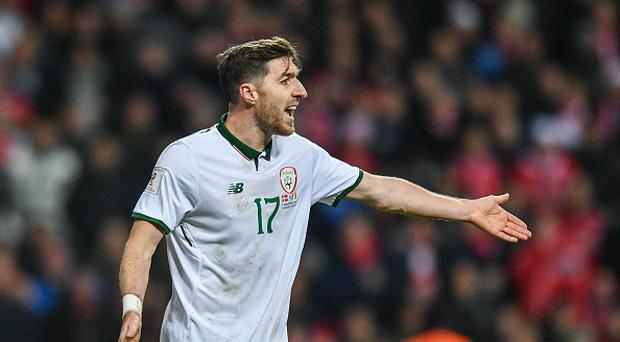 Stephen Ward of Republic of Ireland during the FIFA 2018 World Cup Qualifier Play-off 1st Leg match between Denmark and Republic of Ireland at Parken Stadium in Copenhagen, Denmark. (Photo By Ramsey Cardy/Sportsfile via Getty Images)