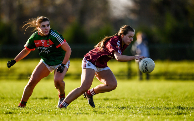 Emma Reaney of Galway in action against Claire Flatley of Mayo during the All Ireland U21 Ladies Football Final match between Mayo and Galway at St. Croans GAA Club in Keelty, Roscommon. Photo by Sam Barnes/Sportsfile