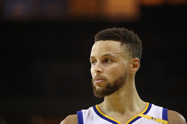 Stephen Curry #30 of the Golden State Warriors looks on against the Cleveland Cavaliers during the first half in Game 5 of the 2017 NBA Finals at ORACLE Arena on June 12, 2017 in Oakland, California. NOTE TO USER: User expressly acknowledges and agrees that, by downloading and or using this photograph, User is consenting to the terms and conditions of the Getty Images License Agreement. (Photo by Ezra Shaw/Getty Images)
