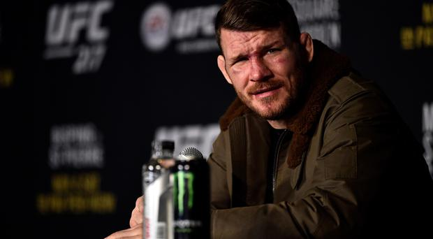 Michael Bisping of England speaks to the media during the UFC 217 post fight press conference event inside Madison Square Garden on November 4, 2017 in New York City. (Photo by Jeff Bottari/Zuffa LLC/Zuffa LLC via Getty Images)