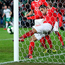 Switzerland's Ricardo Rodriguez clears a Jonny Evans header off the line to dash Northern Ireland's hopes of an equaliser. Photo: PA