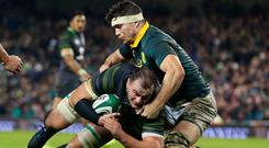 Ireland's Rhys Ruddock on his way to scoring a try against South Africa. Photo: PA