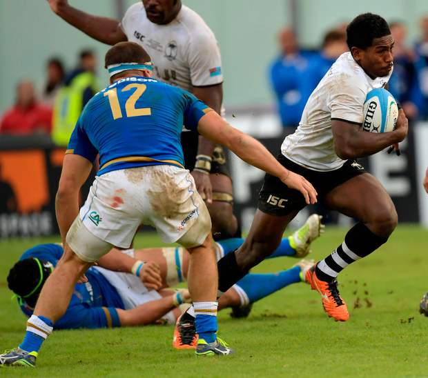 Fiji's scrum-half Frank Lomani maintains possession. Photo: Getty Images