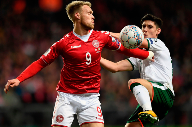 Denmark's Nicolai Joergensen in action with Ireland's Callum O'Dowda. Photo: Getty Images