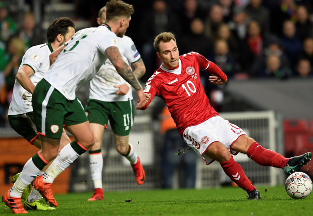 Denmark's Christian Eriksen brings the ball under control. Photo: Reuters