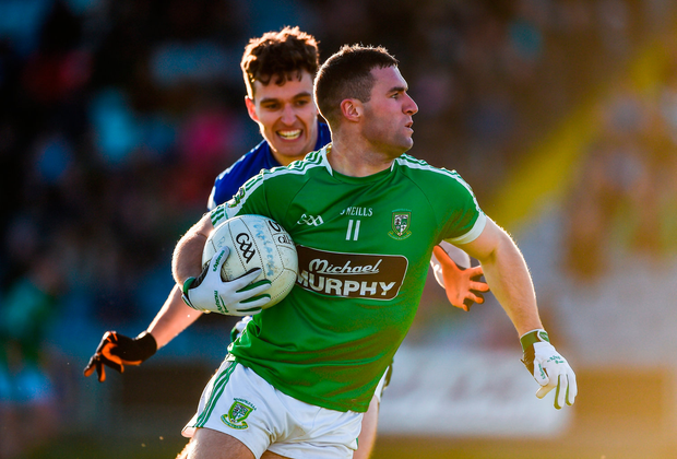 Eddie Heavey of Moorefield in action against David Seale of Portlaoise Photo: Daire Brennan/Sportsfile