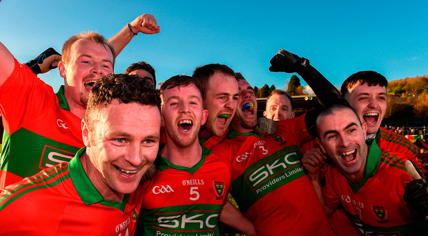 Rathnew players celebrate their victory Photo: Matt Browne/Sportsfile