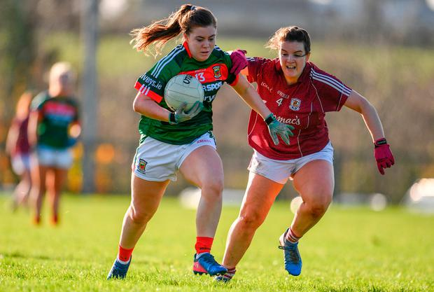 Natasha Gaughan of Mayo in action against Michelle Joyce of Galway Photo: Sam Barnes/Sportsfile