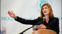 Former United States Ambassador to the United Nations Samantha Power delivering The Barat Lecture on Social Awareness at Mount Anville Secondary School. Pic Steve Humphreys 10th November 2017