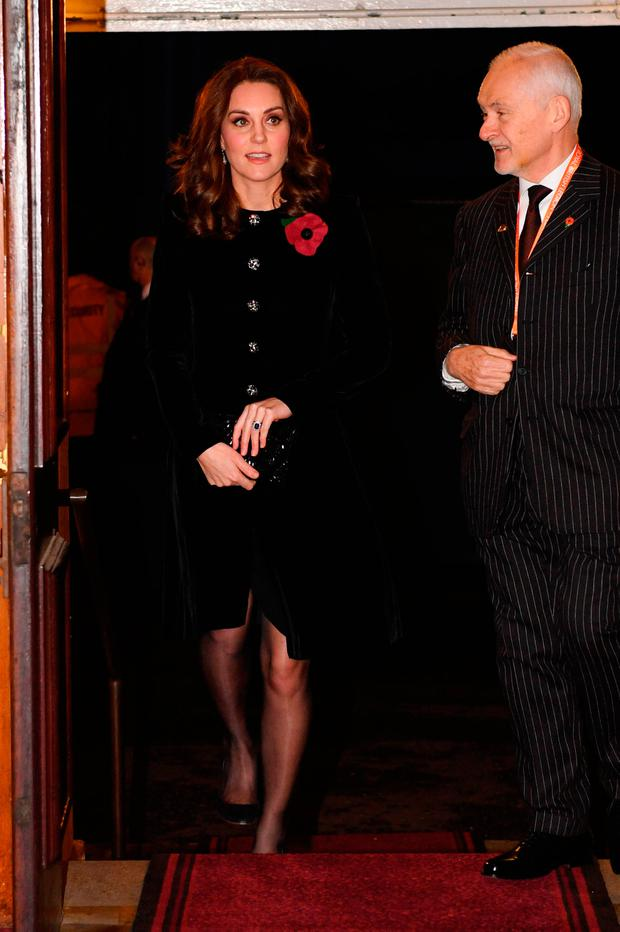 Catherine, Duchess of Cambridge arrives at the annual Royal Festival of Remembrance to commemorate all those who have lost their lives in conflicts at the Royal Albert Hall on November 11, 2017 in London, England. (Photo by Stefan Rousseau - WPA Pool / Getty Images)