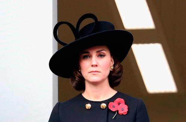 Catherine, Duchess of Cambridge during the annual Remembrance Sunday memorial on November 12, 2017 in London, England