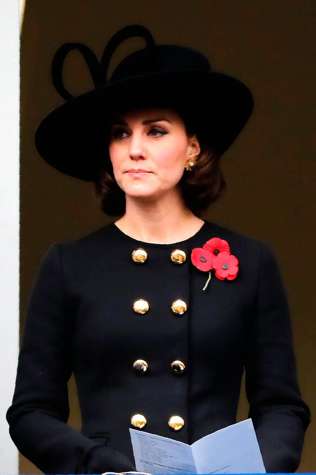 Britain's Catherine, Duchess of Cambridge attends the Remembrance Sunday ceremony at the Cenotaph on Whitehall in central London, on November 12, 2017