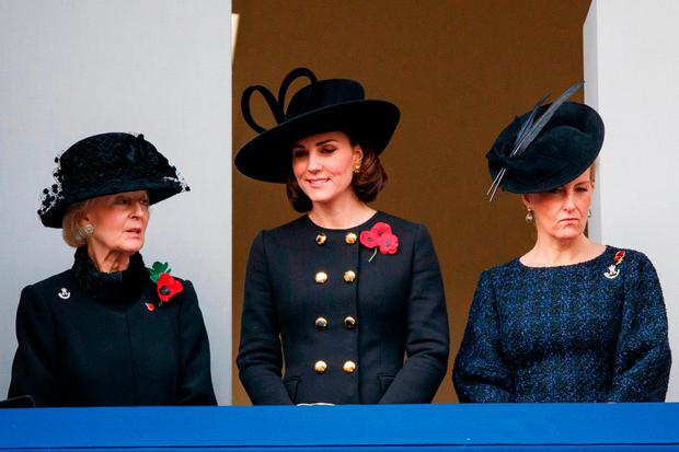 Britain's Catherine, Duchess of Cambridge, (C), Princess Alexandra, The Honourable Lady Ogilvy (L) and Britain's Sophie, Countess of Wessex (R) attend the Remembrance Sunday ceremony at the Cenotaph on Whitehall in central London, on November 12, 2017