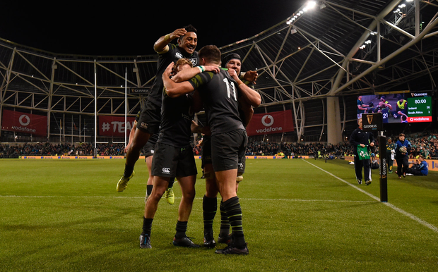 11 November 2017; From left, Bundee Aki, Andrew Conway and Sean O'Brien congratulate Jacob Stockdale of Ireland after scoring his side's fourth try during the Guinness Series International match between Ireland and South Africa at the Aviva Stadium in Dublin. Photo by Matt Browne/Sportsfile