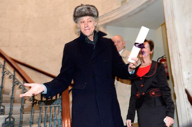 Bob Geldof returns his Freedom of Dublin city scroll to City Hall Dublin. Pic: Justin Farrelly.