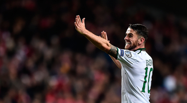 11 November 2017; Robbie Brady of Republic of Ireland reacts during the FIFA 2018 World Cup Qualifier Play-off 1st Leg match between Denmark and Republic of Ireland at Parken Stadium in Copenhagen, Denmark. Photo by Seb Daly/Sportsfile