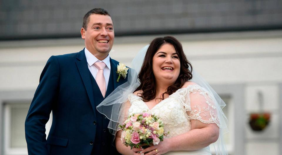 Caroline and Mark on their wedding day | Photo by David Knight, www.irishweddingphotography.com
