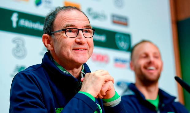 Republic of Ireland manager Martin O'Neill and David Meyler during a press conference at the FAI National Training Centre in Abbotstown, Dublin. Photo by Stephen McCarthy/Sportsfile