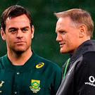 Ireland head coach Joe Schmidt, right, with South Africa assistant coach Johan van Graan