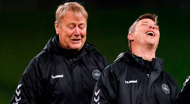 Denmark manager Aage Hareide, left, and assistant manager Jon Dahl Tomasson during squad training at Aviva Stadium in Dublin. Photo by Stephen McCarthy/Sportsfile