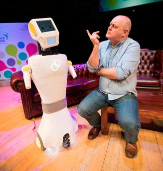 Robot 'Stevie' with Dara O Briain at the 'Scintillating Science' event, held in the National Concert Hall, as part of Science Week 2017, run by Science Foundation Ireland. Photo: Naoise Culhane