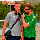Ireland team captain Aidan O'Shea with Stuart Broad, the England fast bowler, whom he met outside the Adelaide Oval at the weekend. Photo by Ray McManus/Sportsfile