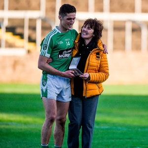 Moorefield 'Man of the Match' Éanna O'Connor is congratulated by his mother Bridie after the win. Photo by Daire Brennan/Sportsfile