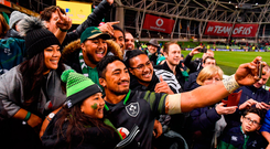 Bundee Aki of Ireland takes a selfie with his daughter Adrianna, age 6