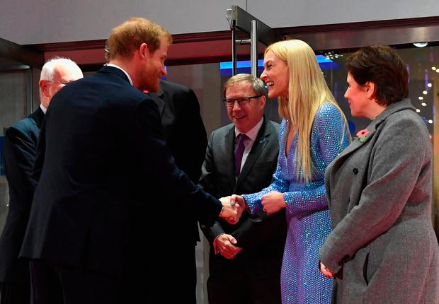 Prince Harry is greeted by Mind abassador Fearne Cotton as he attends the Virgin Money Giving Mind Media Awards at Odeon Leicester Square on November 13, 2017 in London, England. (Photo by Stuart C. Wilson- WPA Pool/Getty Images)