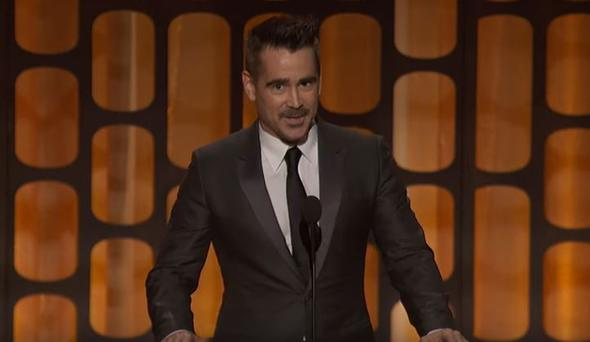 Colin Farrell speaking as part of the award presentation to Honorary Award recipient Donald Sutherland at the 2017 Governors Awards in the Ray Dolby Ballroom at Hollywood & Highland in Hollywood, CA, Saturday, November 11, 2017.